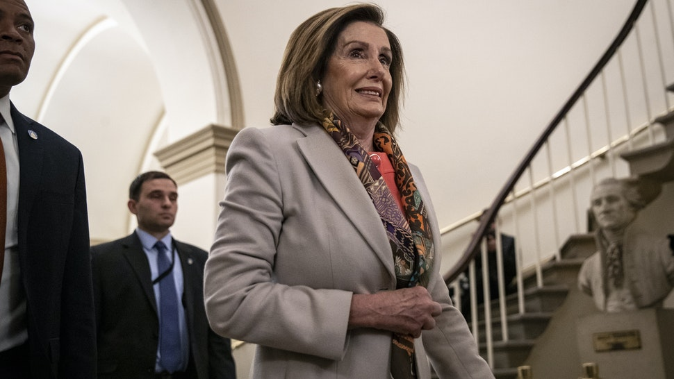 WASHINGTON, DC JANUARY 15: Speaker of the House Nancy Pelosi (D-CA) arrives at the U.S. Capitol on January 15, 2020 in Washington, DC. The House is expected to formally transmit the articles of impeachment against U.S. President Donald Trump to the Senate today. (Photo by Drew Angerer/Getty Images)