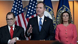 Representative Adam Schiff, a Democrat from California and chairman of the House Intelligence Committee, speaks as U.S. House Speaker Nancy Pelosi, a Democrat from California, right, and Representative Jerry Nadler, a Democrat from New York and chairman of the House Judiciary Committee, left, listen during a news conference on Capitol Hill in Washington, D.C., U.S., on Wednesday, Jan. 15, 2020. Schiff will lead a team of seven managers who will present the impeachment case against President Donald Trump in the Senate, Pelosi said. Photographer: Andrew Harrer/Bloomberg via Getty Images
