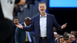 SAN FRANCISCO, CALIFORNIA - DECEMBER 23: Head coach Steve Kerr of the Golden State Warriors complains about a call during their game against the Minnesota Timberwolves at Chase Center on December 23, 2019 in San Francisco, California. NOTE TO USER: User expressly acknowledges and agrees that, by downloading and/or using this photograph, user is consenting to the terms and conditions of the Getty Images License Agreement. (Photo by Ezra Shaw/Getty Images)