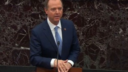 In this screengrab taken from a Senate Television webcast, House impeachment manager Rep. Adam Schiff (D-CA) speaks during impeachment proceedings against U.S. President Donald Trump in the Senate at the U.S. Capitol on January 24, 2020 in Washington, DC.