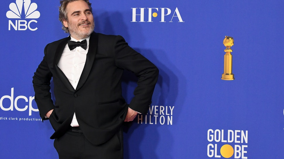 BEVERLY HILLS, CALIFORNIA - JANUARY 05: Joaquin Phoenix poses in the press room during the 77th Annual Golden Globe Awards at The Beverly Hilton Hotel on January 05, 2020 in Beverly Hills, California. (Photo by Steve Granitz/WireImage,)