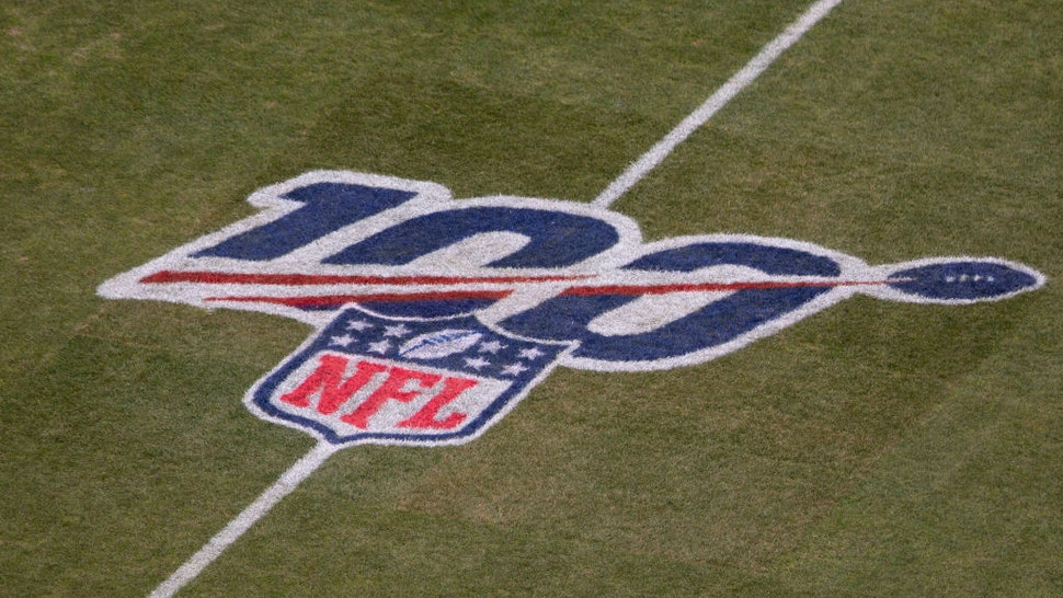 A general view of the NFL 100 logo prior to the NFC Wild Card game between the Seattle Seahawks and Philadelphia Eagles at Lincoln Financial Field on January 5, 2020 in Philadelphia, Pennsylvania.