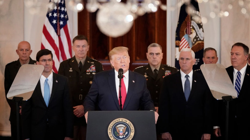 """U.S. President Donald Trump speaks from the White House on January 08, 2020 in Washington, DC. During his remarks, Trump addressed the Iranian missile attacks that took place last night in Iraq and said, """"As long as I am president of the United States, Iran will never be allowed to have a nuclear weapon."""""""