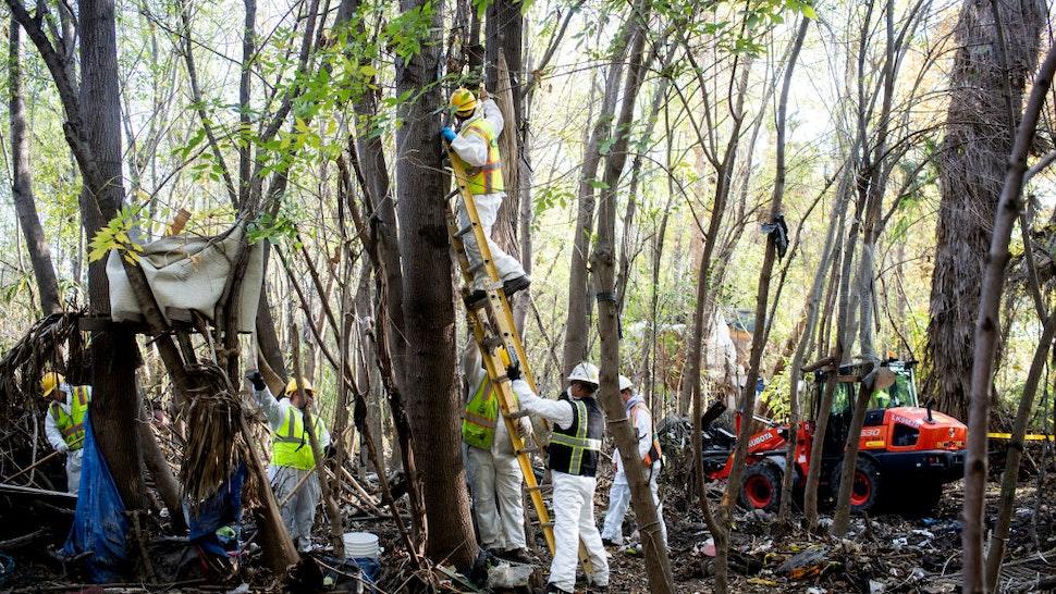 LA Sanitation cleans up a homeless encampment in the Sepulveda Basin