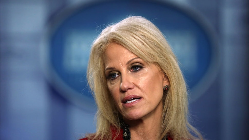 White House Senior Counselor Kellyanne Conway speaks to members of the media at the James Brady Press Briefing Room of the White House January 10, 2020 in Washington, DC.