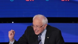 Sen. Bernie Sanders (I-VT) makes a point during the Democratic presidential primary debate at Drake University on January 14, 2020 in Des Moines, Iowa.