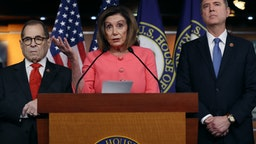 WASHINGTON, DC - JANUARY 15: U.S. Speaker of the House Nancy Pelosi (D-CA) (C) announces that Rep. Jerrold Nadler (D-NY) (L) and Rep. Adam Schiff (D-CA) will lead the seven managers of the Senate impeachment trial of President Donald Trump at the U.S. Capitol January 15, 2020 in Washington, DC. The House of Representatives is scheduled to vote to send the articles of impeachment to the Senate later in the day and Senate Majority Leader Mitch McConnell (R-KY) said the trial will begin next Tuesday. (Photo by Chip Somodevilla/Getty Images)