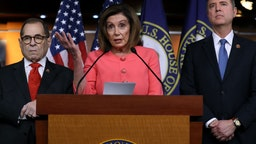U.S. Speaker of the House Nancy Pelosi (D-CA) (C) announces that Rep. Jerrold Nadler (D-NY) (L) and Rep. Adam Schiff (D-CA) will lead the seven managers of the Senate impeachment trial of President Donald Trump at the U.S. Capitol January 15, 2020 in Washington, DC.