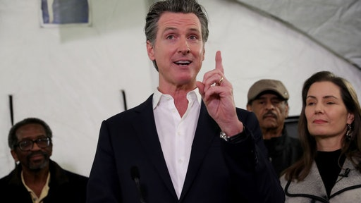 Gov. Gavin Newsom speaks at a press conference on homelessness in Oakland, Calif., on Thursday, Jan. 16, 2020.