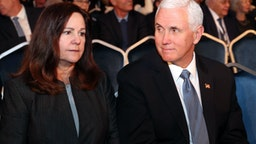 "JERUSALEM, ISRAEL - JANUARY 23: Vice President of the United States Mike Pence (R) and his wife Karen Pence (L) during the Fifth World Holocaust Forum on January 23, 2020 in Jerusalem, Israel. Heads of State gathering in Jerusalem to mark 75 years since the liberation of Auschwitz will be the ""largest diplomatic event in Israel's history,"" according to the country's Foreign Minister. (Photo by Yad Vashem - Pool/Getty Images)"