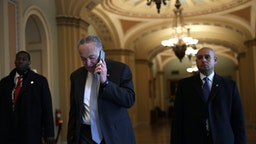 WASHINGTON, DC - JANUARY 23: U.S. Senate Minority Leader Sen. Chuck Schumer (D-NY) arrives at the U.S. Capitol January 23, 2020 in Washington, DC. House Democrats continue opening arguments on day 3 of the Senate impeachment trial against President Donald Trump. (Photo by Alex Wong/Getty Images)
