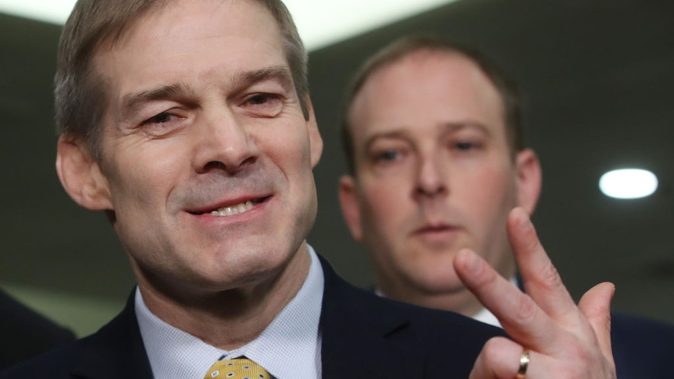 Rep. Jim Jordan (R-OH) (L), and Rep. Lee Zeldin (R-NY), speak with reporters in the Senate subway before the impeachment trial of President Donald Trump resumes at the U.S. Capitol on January 23, 2020 in Washington, DC.
