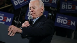 Democratic presidential candidate former Vice President Joe Biden speaks a campaign event inside the John Deere Exhibition Hall at the FFA Enrichment Center January 25, 2020 in Ankeny, Iowa. While three of the top-polling Democratic presidential candidates are U.S. Senators and must be in Washington for the impeachment trial of President Donald Trump, Biden continues to campaign across Iowa ahead of its all-important February 03 caucuses. (Photo by Chip Somodevilla/Getty Images)