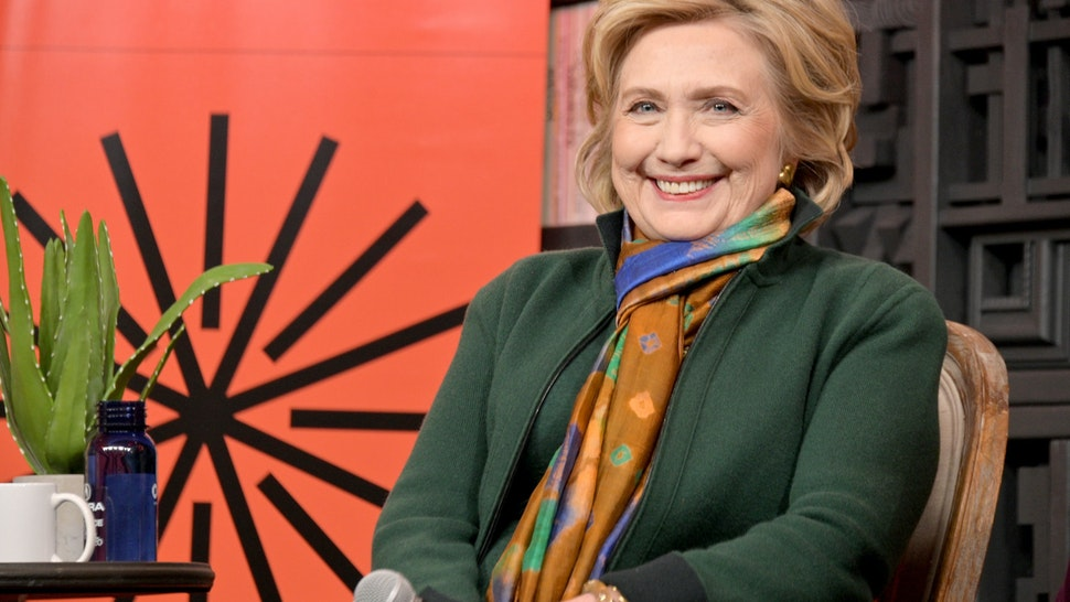 PARK CITY, UTAH - JANUARY 26: Former First Lady and Secretary of State Hillary Rodham Clinton speaks onstage at Cinema Cafe during the 2020 Sundance Film Festival at the Filmmaker Lodge on January 26, 2020 in Park City, Utah. (Photo by Michael Loccisano/Getty Images)