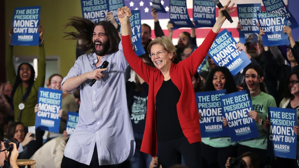 Jonathan Van Ness, of the Netflix series Queer Eye, introduces Democratic presidential candidate, Sen. Elizabeth Warren (D-MA) during a campaign rally at The NewBo City Market on January 26, 2020 in Cedar Rapids, Iowa.