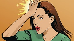 Woman Upset Hitting Forehead With Her Hand - stock vector