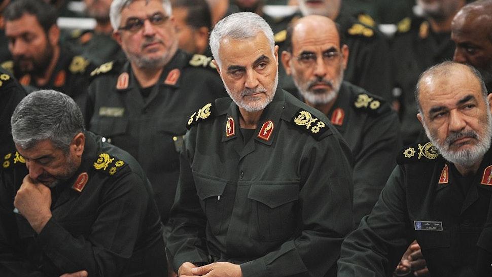 TEHRAN, IRAN - SEPTEMBER 18 : Iranian Quds Force commander Qassem Soleimani (C) attends Iranian supreme leader Ayatollah Ali Khamenei's (not seen) meeting with the Islamic Revolution Guards Corps (IRGC) in Tehran, Iran on September 18, 2016.