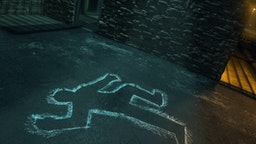 Chalk outline of body of victim on pavement - stock photo