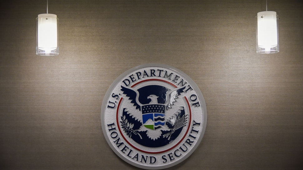 U.S. Department of Homeland Security logo is seen inside press conference room on Thursday, May 11, 2017, at the U.S. Immigration and Customs Enforcement headquarters in Washington, DC.