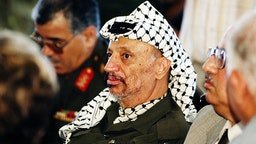GAZA, ISRAEL - JULY 1994: Chairman Yasser Arafat pictured during a meeting after his return from exile to Gaza.