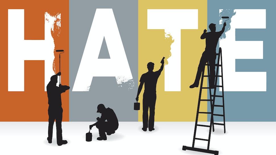 Eradicate Hate, Racism, Prejudice Concept Graphic, Billboard - stock vector
