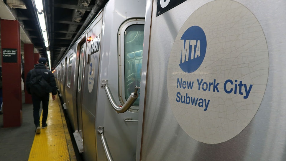 A subway train pulls into a station under Rockefeller Center on March 6, 2018 in New York City.