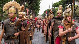 Historically dressed people taking part of the annual festival Natale di Roma, Rome's foundation anniversary. (Photo by Frank Bienewald/LightRocket via Getty Images)