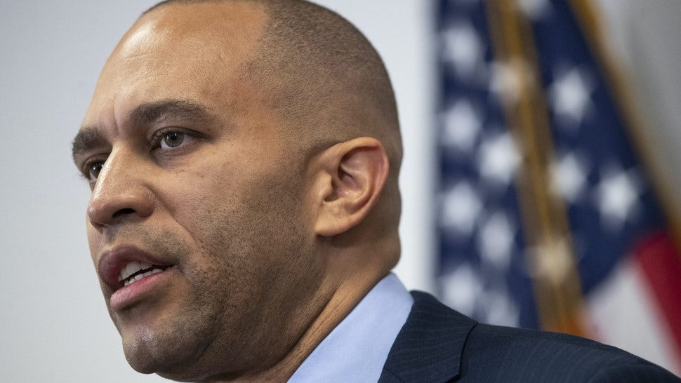 WASHINGTON, DC JANUARY 14: Chair of the House Democratic Caucus Rep. Hakeem Jeffries (D-NY) speaks during a press conference after a House Democratic Caucus meeting at the U.S. Capitol on January 14, 2020 in Washington, DC. Pelosi announced that the House will vote Wednesday on a resolution appointing House impeachment managers and will transmit the articles of impeachment to the Senate, allowing the trial of President Trump to begin.