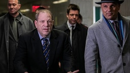 Harvey Weinstein arrives at New York City Criminal Court for the continuation of this trial on January 24, 2020 in New York City. Weinstein, a movie producer whose alleged sexual misconduct helped spark the #MeToo movement, pleaded not-guilty on five counts of rape and sexual assault against two unnamed women and faces a possible life sentence in prison. (Photo by Jeenah Moon/Getty Images)