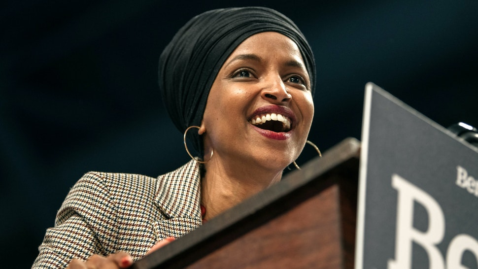 MINNEAPOLIS, MN - NOVEMBER 03: Representative Ilhan Omar (D-MN) speaks at a campaign rally for Senator (I-VT) and presidential candidate Bernie Sanders at the University of Minnesotas Williams Arena on November, 3, 2019 in Minneapolis, Minnesota. Before introducing him, Rep. Omar praised Sanders for his support of unions, comprehensive immigration reform, and support for refugees.
