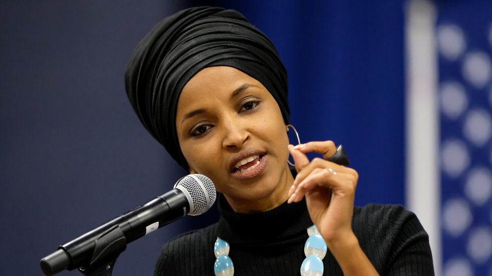 MANCHESTER, UNITED STATES - 2019/12/13: Minnesota Congresswoman Ilhan Omar campaigns with Vermont Senator and presidential candidate Bernie Sanders at Southern New Hampshire University in Manchester.