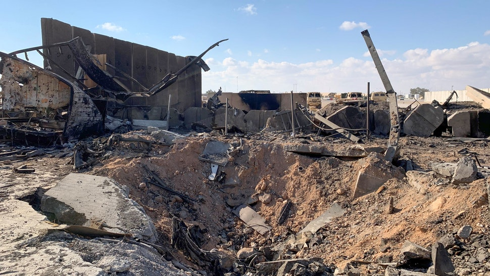 A picture taken on January 13, 2020 during a press tour organised by the US-led coalition fighting the remnants of the Islamic State group, shows a view of the damage at Ain al-Asad military airbase housing US and other foreign troops in the western Iraqi province of Anbar. - Iran last week launched a wave of missiles at the sprawling Ain al-Asad airbase in western Iraq and a base in Arbil, capital of Iraq's autonomous Kurdish region, both hosting US and other foreign troops, in retaliation for the US killing top Iranian general Qasem Soleimani in a drone strike in Baghdad on January 3.