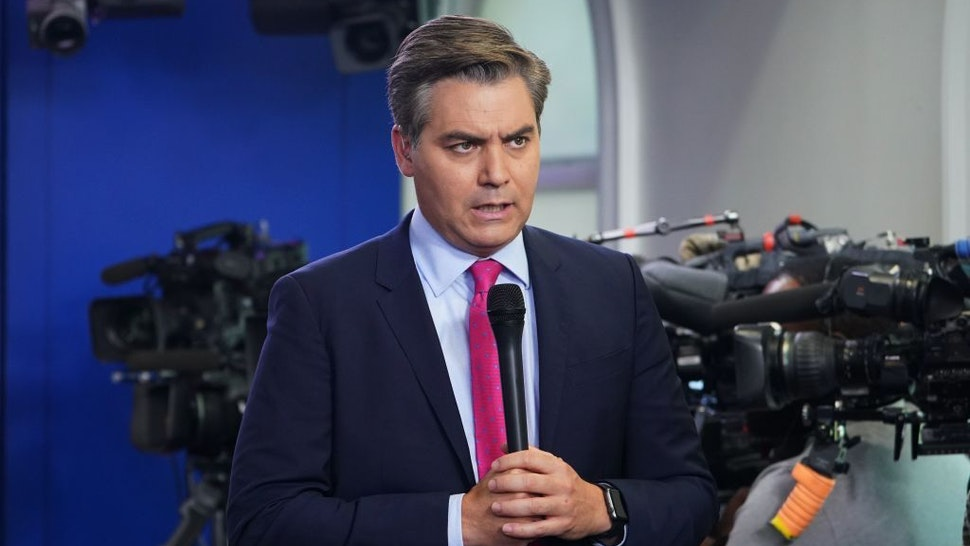 CNN chief White House correspondent Jim Acosta is seen before a briefing by White House Press Secretary Sarah Sanders in the Brady Briefing Room of the White House in Washington, DC on October 3, 2018. (Photo by MANDEL NGAN / AFP) (Photo credit should read MANDEL NGAN/AFP via Getty Images)