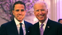 World Food Program USA Board Chairman Hunter Biden (L) and U.S. Vice President Joe Biden attend the World Food Program USA's Annual McGovern-Dole Leadership Award Ceremony at Organization of American States on April 12, 2016 in Washington, DC.