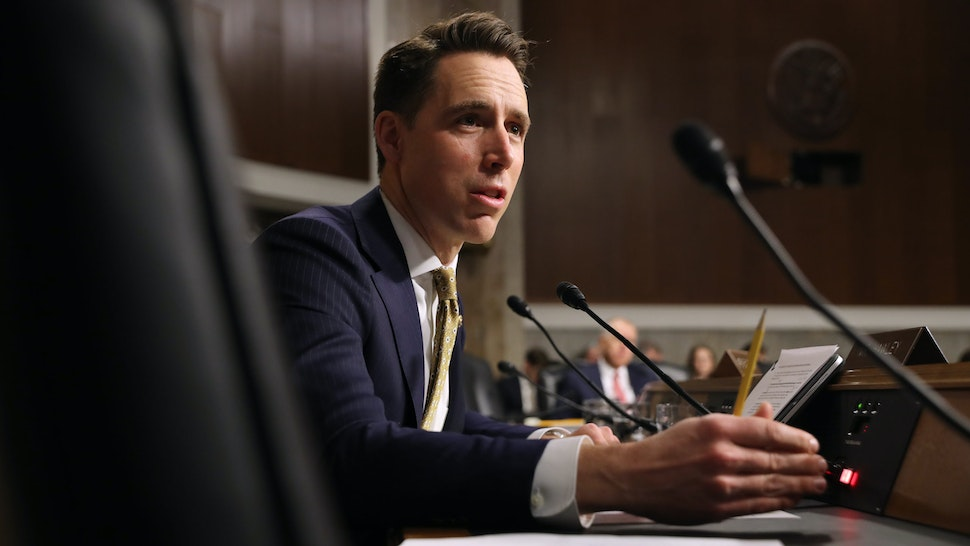 WASHINGTON, DC - DECEMBER 03: Senate Armed Services Committee member Sen. Josh Hawley (R-OM) questions witnesses during a hearing in the Dirksen Senate Office Building on Capitol Hill December 03, 2019 in Washington, DC. Military secretaries and members of the Joint Chiefs testified about a new GAO report about ongoing reports of substandard military housing conditions and services.