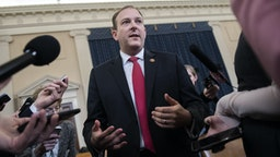 UNITED STATES - NOVEMBER 20: Rep. Lee Zeldin, R-N.Y., talks with reporters during a break in the the House Intelligence Committee hearing on the impeachment inquiry of President Trump featuring testimony by Gordon Sondland, U.S. ambassador to the European Union, in Longworth Building on Wednesday, November 20, 2019.