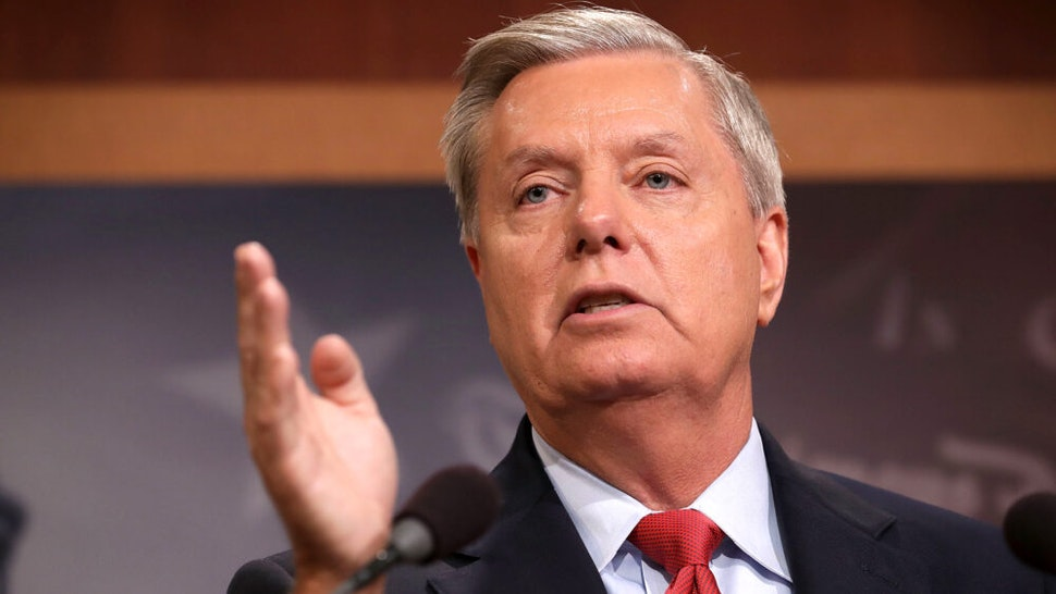 WASHINGTON, DC - JULY 27: Sen. Lindsey Graham (R-SC) holds a news conference with fellow GOP senators to say they would not support a 'Skinny Repeal' of health care at the U.S. Capitol July 27, 2017 in Washington, DC. The Republican senators said they would not support any legislation to repeal and replace Obamacare unless it was guaranteed to go to conference with the House of Representatives.