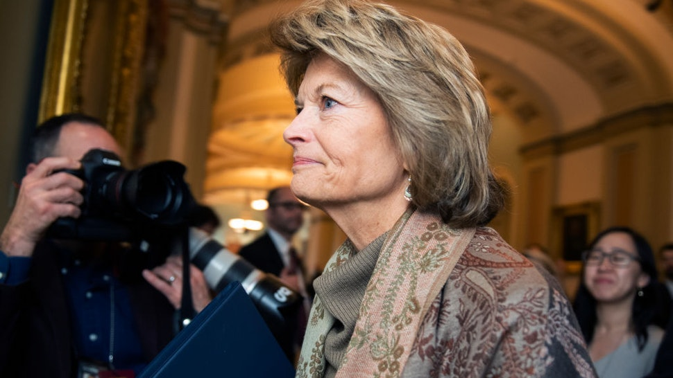 Sen. Lisa Murkowski, R-Alaska, is seen in the Capitol before the continuation of the impeachment trial of President Donald Trump on Wednesday, January 22, 2020. (Photo By Tom Williams/CQ Roll Call)