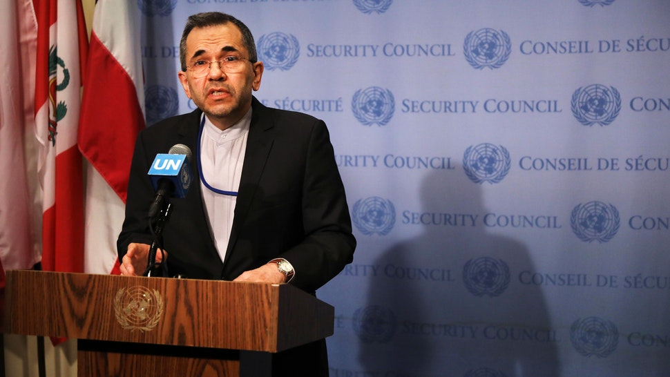 NEW YORK, NEW YORK - JUNE 24: Iran's Ambassador to the United Nations (UN) Majid Takht Ravanchi speaks to the media before a meeting with other UN members on the escalating situation with the United States At United Nation headquarters on June 24, 2019 in New York City. The Trump administration has imposed fresh sanctions on the country following last week's shooting down by Iran of a U.S. surveillance drone over the Strait of Hormuz.