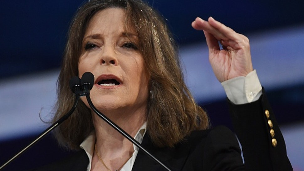 Democratic Presidential hopeful Marianne Williamson speaks at the California Democratic Party 2019 Fall Endorsing Convention in Long Beach, California on November 16, 2019.