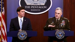 ARLINGTON, VIRGINIA - OCTOBER 28: U.S. Defense Secretary Mark Esper (L) and Chairman of the Joint Chiefs of Staff Gen. Mark Milley hold a news conference at the Pentagon the day after it was announced that Abu Bakr al-Baghdadi was killed in a U.S. raid in Syria October 28, 2019 in Arlington, Virginia. The leader and self-proclaimed caliph of the Islamic State, al-Baghdadi reportedly blew himself up with explosives when cornered by a U.S. Special Operations team at his compound in Syria.
