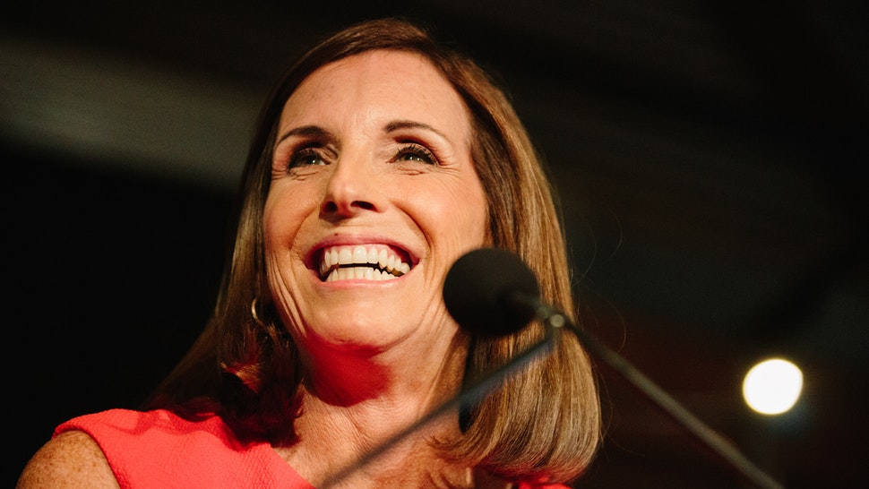 Martha McSally, Republican U.S. Senate candidate from Arizona, speaks during an election night rally in Tempe, Arizona, U.S., on Tuesday, Aug. 27, 2018. Arizona is poised to elect its first female senator in November after front-runner McSally beat two hardliners in a Republican primary in which President Donald Trump loomed large even though he didnt officially endorse anyone.