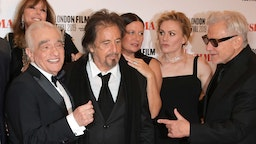 """Jane Rosenthal, Martin Scorsese, Al Pacino, Emma Tillinger Koskoff, Anna Paquin and Harvey Keitel attend the International Premiere and Closing Night Gala screening of NETFLIX's """"The Irishman"""" during the 63rd BFI London Film Festival at Odeon Luxe Leicester Square on October 13, 2019 in London, England. (Photo by David M. Benett/Dave Benett/WireImage)"""