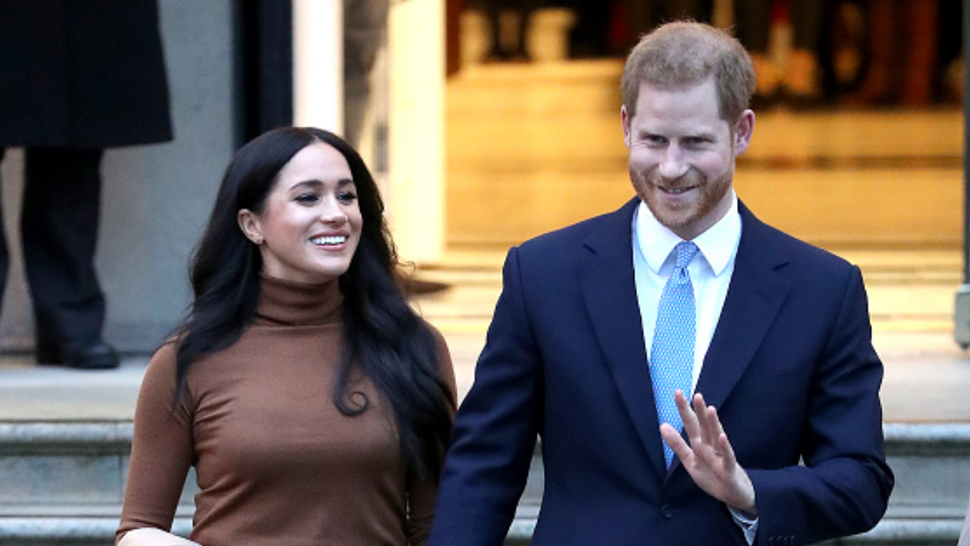 LONDON, ENGLAND - JANUARY 07: Prince Harry, Duke of Sussex and Meghan, Duchess of Sussex depart Canada House on January 07, 2020 in London, England.