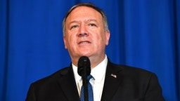 US Secretary of State Mike Pompeo speaks onstage during a briefing on the past 72 hours events in Mar a Lago, Palm Beach, Florida on December 29, 2019. - Pompeo says they came to brief POTUS on events of past 72 hours Pompeo: We will not stand for the Islamic Republic of Iran to take actions that put American men and women in jeopardy.