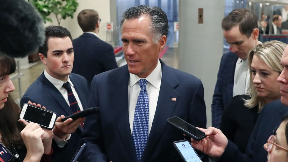 Sen. Mitt Romney (R-UT) talks to reporters at the U.S. Capitol January 21, 2020 in Washington, DC. Today marks day one of the Senate impeachment trial against President Trump. (Photo by Mark Wilson/Getty Images)