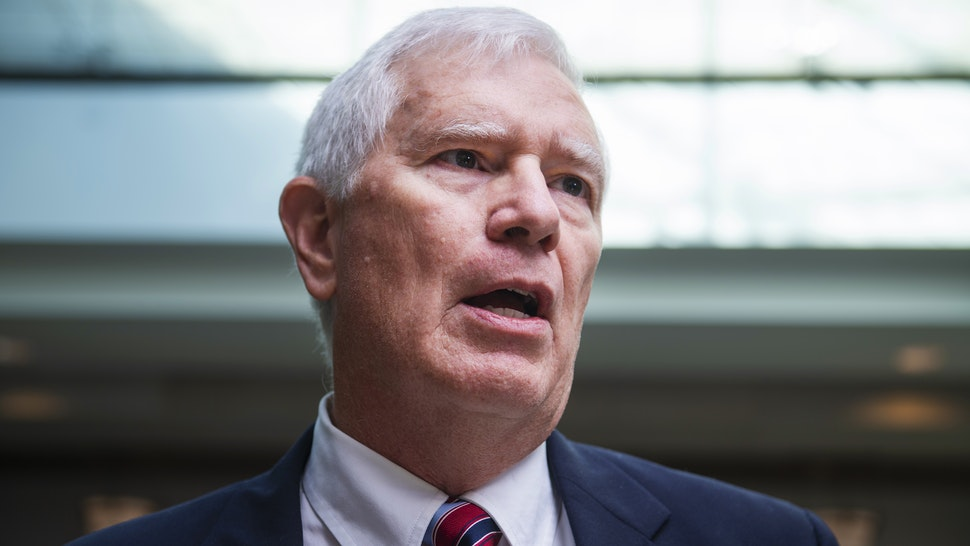 UNITED STATES - OCTOBER 23: Rep. Mo Brooks, R-Ala., talks with reporters in the Capitol Visitor Center outside the Laura Cooper, deputy assistant secretary of defense, deposition related to the House's impeachment inquiry on Wednesday, October 23, 2019. The Republican members were calling for access to the deposition.