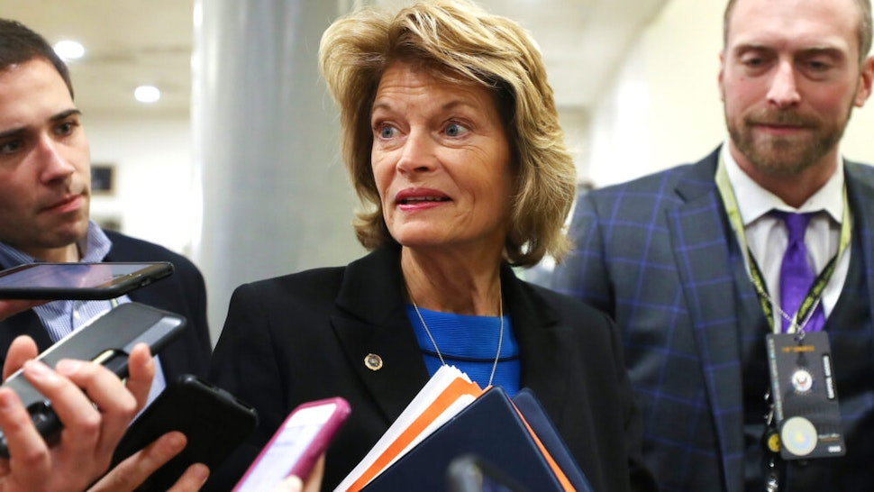WASHINGTON, DC - JANUARY 29: Sen. Lisa Murkowski (R-AK) speaks to reporters as she arrives for the continuation of the Senate impeachment trial of President Donald Trump at the U.S. Capitol on January 29, 2020 in Washington, DC. The next phase of the trial, in which senators will be allowed to ask written questions, will extend into tomorrow.