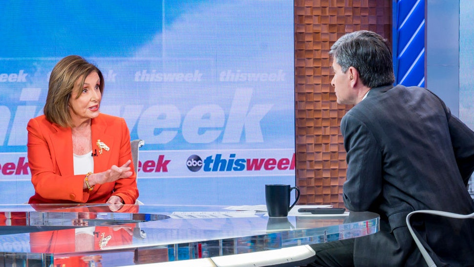 ABC News Chief Anchor George Stephanopoulos goes one-on-one exclusively with Speaker of the House Nancy Pelosi to discuss the latest on impeachment and Iran, only on This Week Sunday, January 12, 2020 on ABC.(Photo by Jeff Neira/ABC via Getty Images)