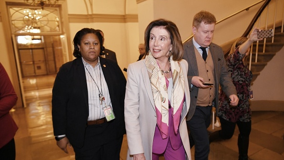 House Speaker Nancy Pelosi, D-CA, arrives at the US Capitol in Washington, DC on January 7, 2020.